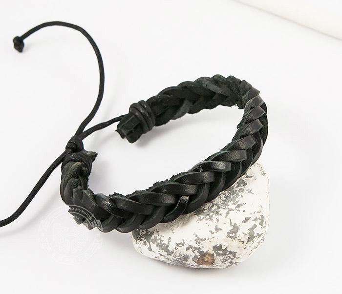 Spikes, Мужской плетеный браслет из черной натуральной кожи, «Spikes» двойной мужской браслет из кожи черного цвета