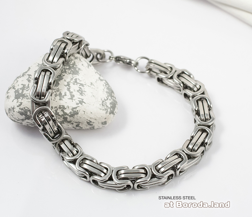 BM299 Стильный браслет квадратного сечения из стали (20 см) фото 06