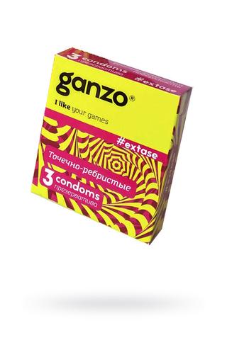 Презервативы Ganzo Extase, с точечно-ребристой поверхностью, анатомической формы, латекс, 18 см, 3 шт фото