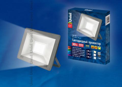 ULF-F15-30W/NW IP65 185-240В SILVER Прожектор светодиодный. Белый свет (4000K). Корпус серебристый. TM Uniel.