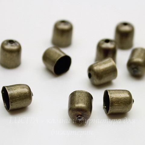 Концевик для шнура 5,5 мм (цвет - античная бронза) 7х6 мм, 10 штук