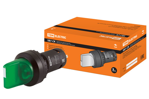 Переключатель на  3 положения с фиксацией SB7-CK3365-220V короткая ручка(LED) d22мм 1з+1р зеленый TD