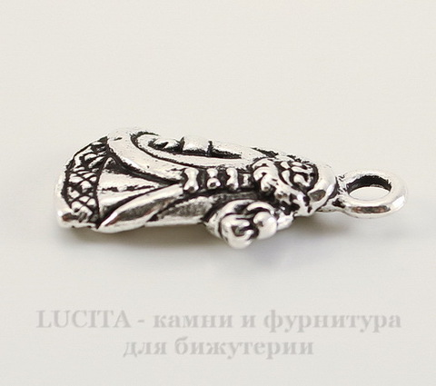 "Подвеска TierraCast ""Дед Мороз"" (цвет-античное серебро) 22х12 мм"