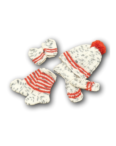 Вязаный комплект - Серый меланж / красный. Одежда для кукол, пупсов и мягких игрушек.
