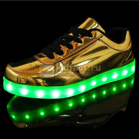 Светящиеся кроссовки с USB зарядкой Fashion (Фэшн) на шнурках, цвет золотой, светится вся подошва. Изображение 2 из 8.