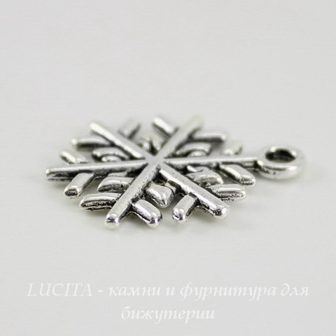 "Подвеска ""Снежинка"" 20х16 мм (цвет - античное серебро)"