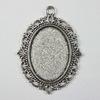 """Сеттинг - основа - подвеска """"Ажурный"""" для камеи или кабошона 25х18 мм (цвет - античное серебро)"""