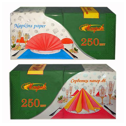 Салфетки 33х33 см зеленые двухслойные 250 шт.