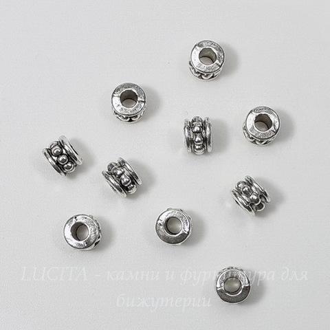 Бусина металлическая 6х5 мм (цвет - античное серебро), 10 штук