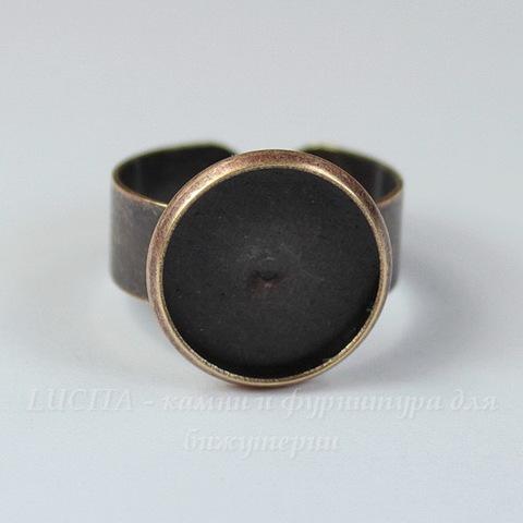 Основа для кольца с сеттингом для кабошона 14 мм (цвет - античная медь)