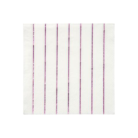 Маленькие розовые фольгированные полосатые салфетки