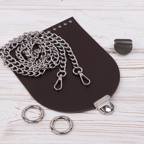 """Комплект для сумочки Орео """"Темно-коричневый"""" с цепочкой"""