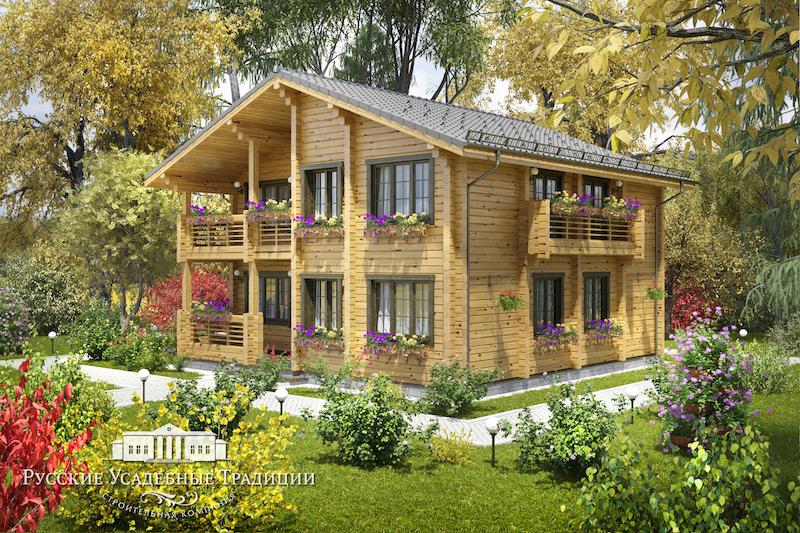 """Проекты домов «Шале» из бруса Проект двухэтажного дома """"Династия"""" 195 кв.м. shale_petuhovy_3_logo.jpg"""