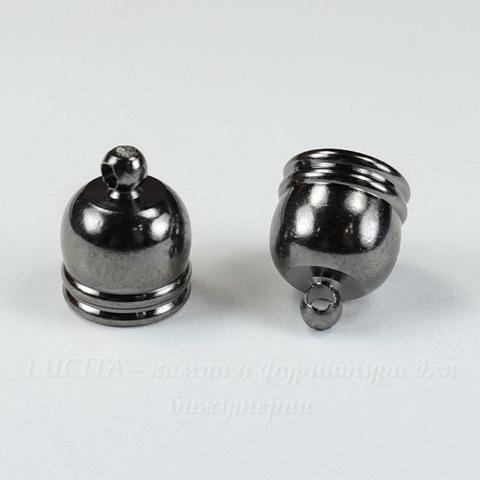 Концевик для шнура 8,8 мм, 12х10 мм (цвет - черный никель), 2 штуки