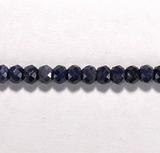 Бусина из корунда синего, фигурная, 3x5 мм (рондель, граненая)