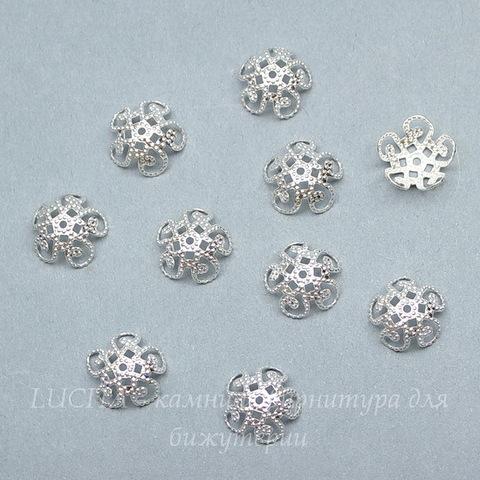 Шапочка для бусины филигранная 10х4 мм (цвет - серебро), 10 штук