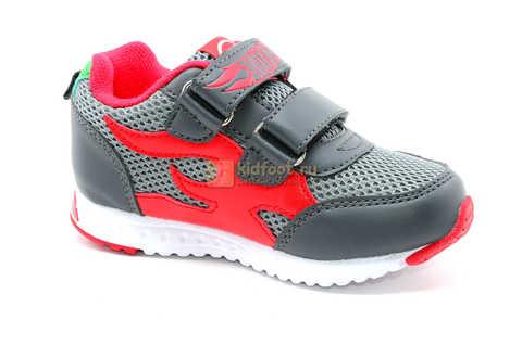 Светящиеся кроссовки Хот Вилс (Hot Wheels) на липучках для мальчиков, цвет серый красный. Изображение 2 из 14.