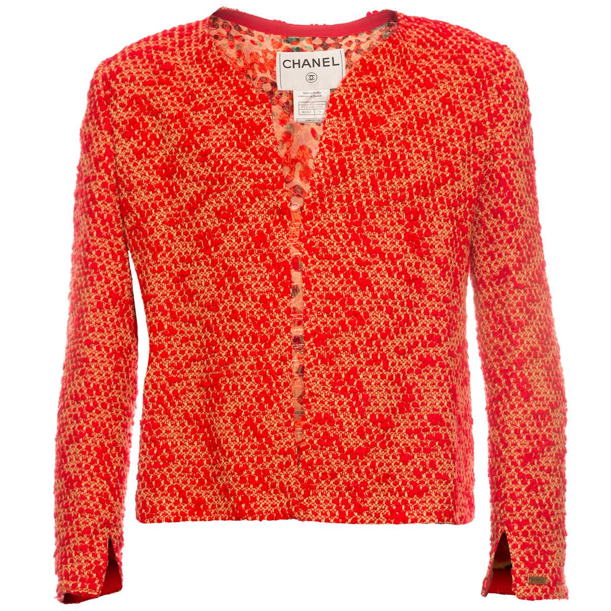 Стильный красный жакет и топ от Chanel, 36 размер