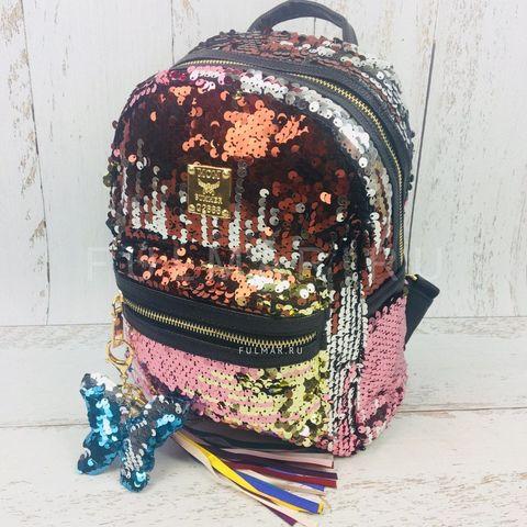 Рюкзак женский с пайетками меняющий цвет Золотисто-Коричнево-Серебристый и брелок бабочка