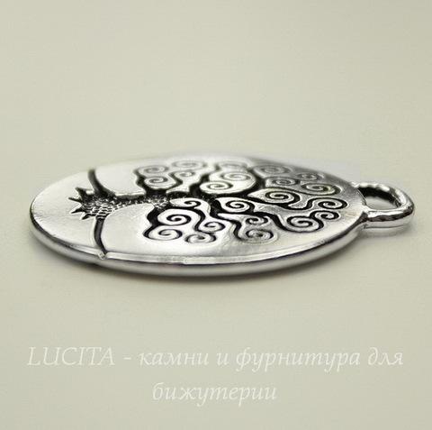 """Подвеска круглая TierraCast """"Дерево жизни"""" (цвет-античное серебро) 27х24 мм"""