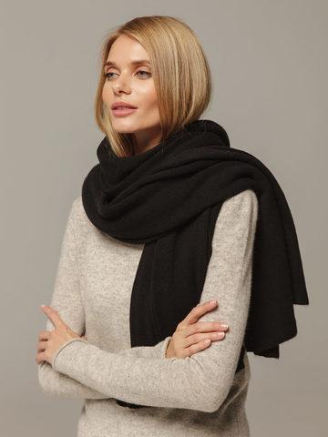Женский шарф черного цвета из 100% кашемира - фото 2
