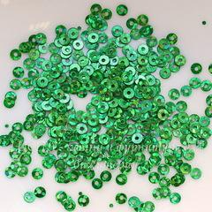 Пайетки зеленые с голограммой, 3 мм, 10 грамм