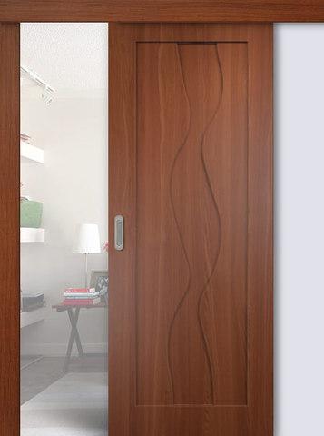 Дверь раздвижная Сибирь Профиль Водопад, цвет итальянский орех, глухая