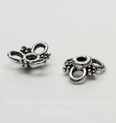 """Шапочка для бусины """"Три петельки"""" (цвет - античное серебро) 10х3 мм, 10 штук"""