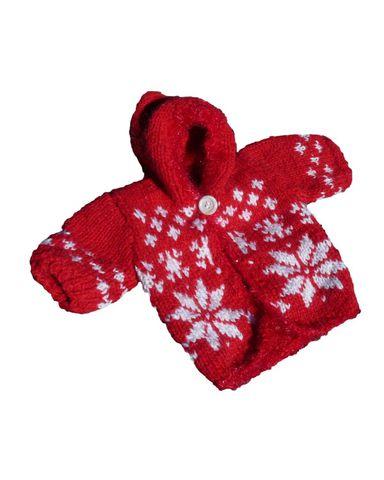 Вязаный удлиненный жакет с капюшоном - Красный. Одежда для кукол, пупсов и мягких игрушек.