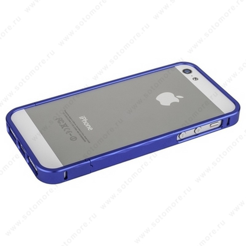 Бампер MOMAX металлический для iPhone SE/ 5s/ 5C/ 5 синий