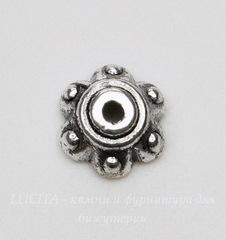 Шапочка для бусины 7х3 мм (цвет - античное серебро), 10 штук