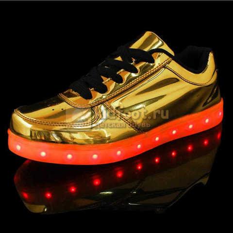 Светящиеся кроссовки с USB зарядкой Fashion (Фэшн) на шнурках, цвет золотой, светится вся подошва. Изображение 3 из 8.