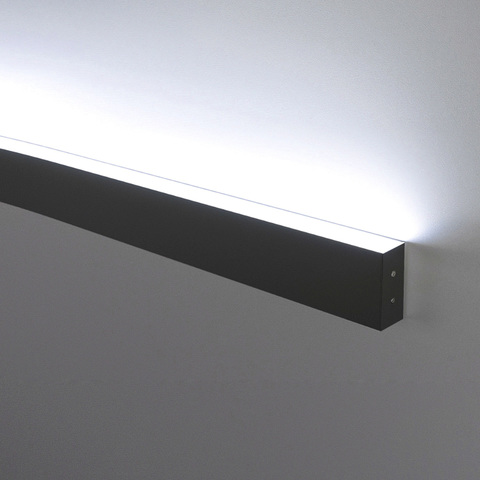 Линейный светодиодный накладной односторонний светильник 103см 20Вт 6500К черная шагрень 101-100-30-103