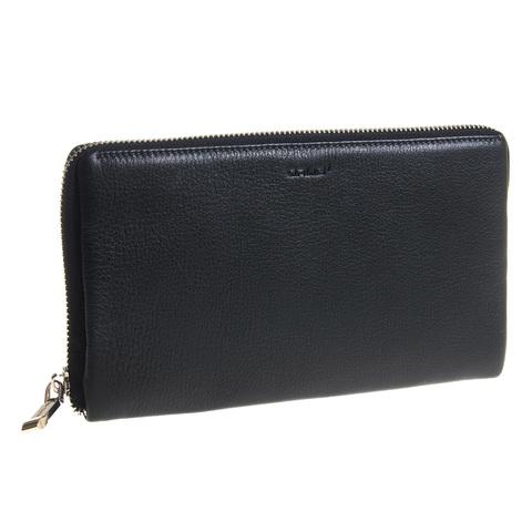 Изящный мужской чёрный клатч портмоне из натуральной кожи на молнии GALIB 7M228