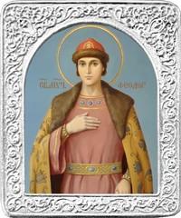 Святой Феодор. Маленькая икона в серебряной раме.