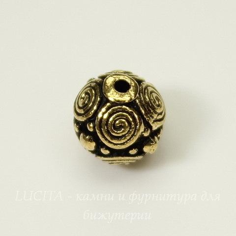 "Бусина - шарик TierraCast ""Спирали"" (цвет-античное золото) 8 мм"