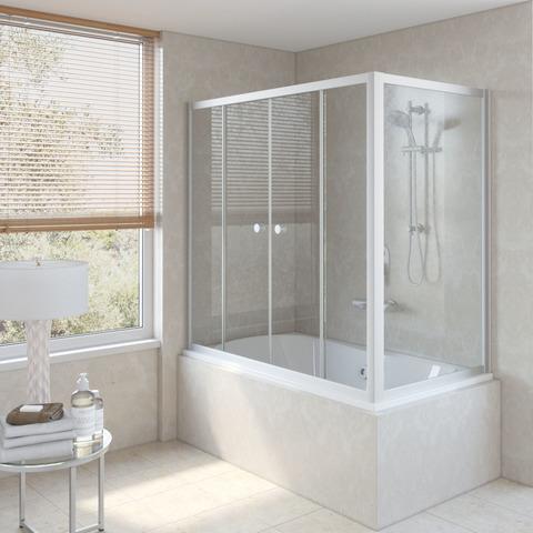 Шторка на ванну Vegas Glass Z2V+ZVF профиль матовый хром, стекло прозрачное