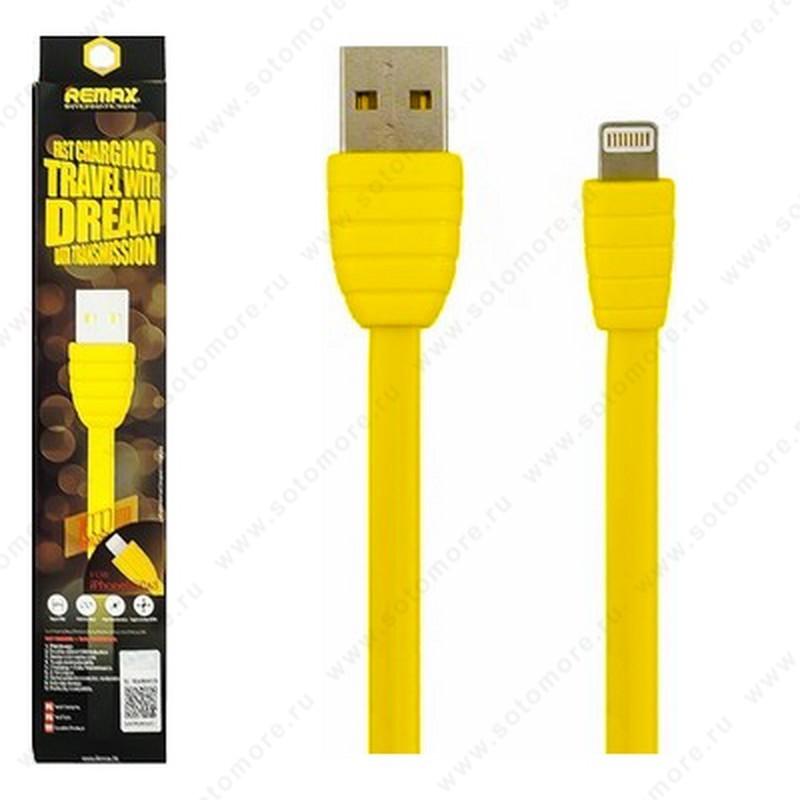 Кабель REMAX TRAVEL Lightning to USB 1.0 метр двустороний USB (папа) плоский желтый