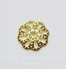 Шапочка для бусины филигранная (цвет - золото) 10х2 мм, 10 штук