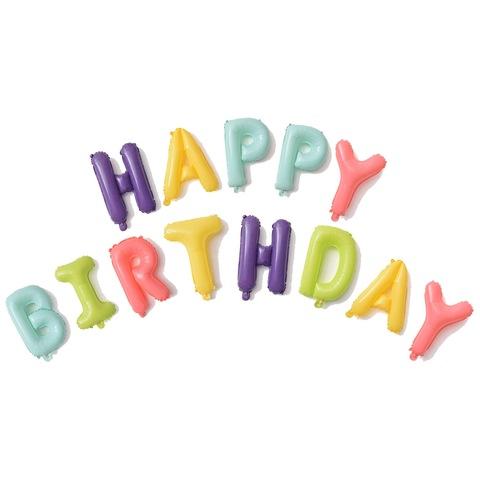 Растяжка из шаров: Буквы из фольги - С днем Рождения, Happy Birthday, ассорти, макарунс