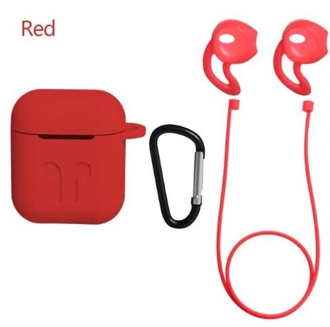 Защитный набор 4 в 1 для Apple Airpods (красный)