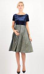 Евромама. Платье для беременных праздничное велюр люрекс, темно-синий