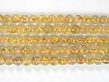 Нить бусин из кварца рутилового золотого, шар гладкий 4 мм