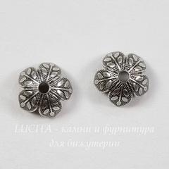 Винтажный декоративный элемент - шапочка с веточками 8х4 мм (оксид серебра)