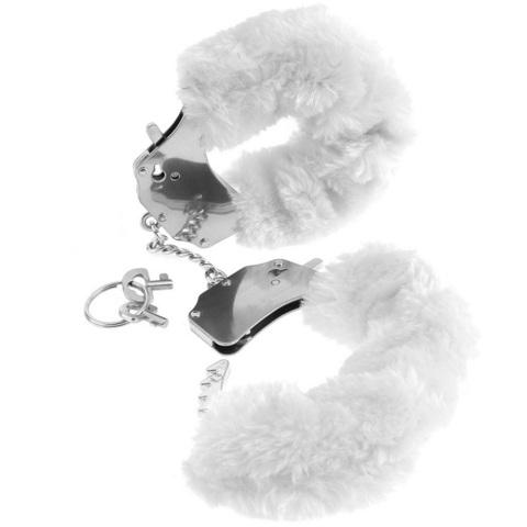Металлические наручники с мехом Фантазия белые