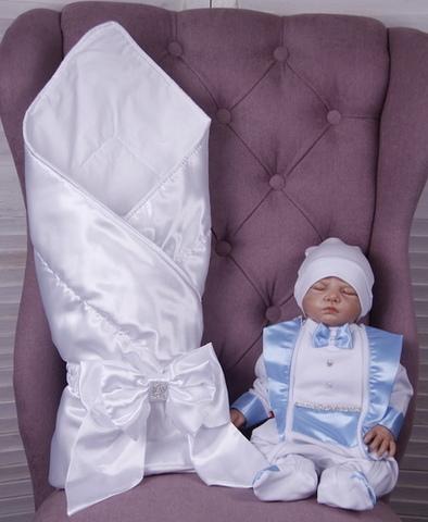 Комплект на выписку для мальчика Вилли белый с голубым