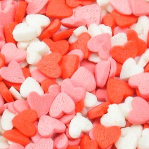 Посыпка Сердечки красно-бело-розовые