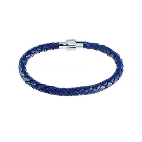 Кожаный браслет синий JV 232-0122