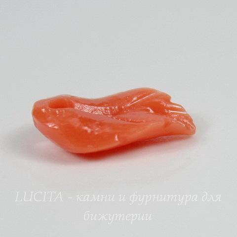 """Подвеска Коралл (искусств) """"Листик"""", цвет - коралловый, 11х7 мм"""