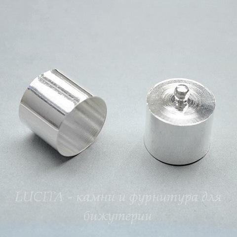 Концевик для шнура 17 мм (цвет - серебро) 20х18 мм, 2 штуки